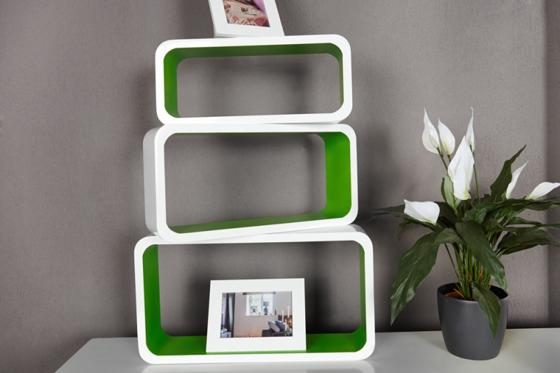 Regał club Cube Small 3-er Set White&Green
