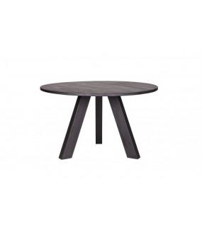 Okrągły stół do kuchni w stylu industrialnym lub jadalni w skandynawskiej aranżacji.