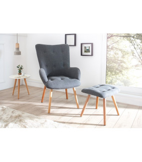 Fotel z podnóżkiem Scandinavia szary