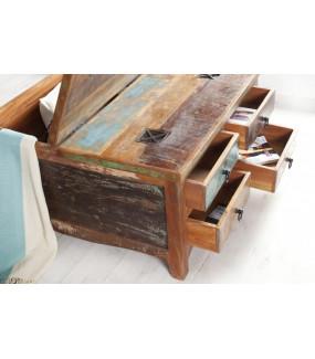 Skrzynia do salonu w z naturalnego drewna z recyklingu