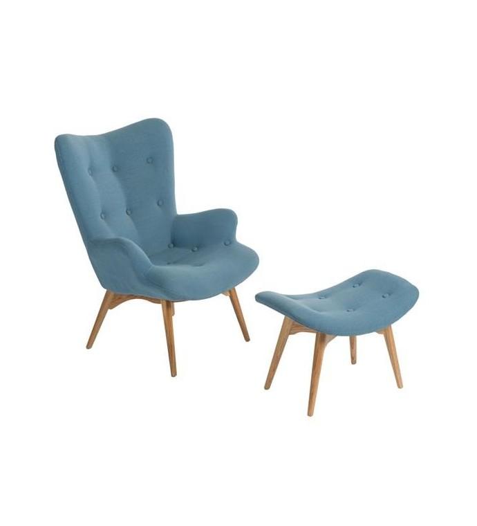 Fotel z podnóżkiem Contour niebieski