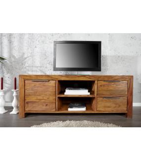 Stolik pod TV szufladami i półkami świetnie sprawdzi się zarówno w skandynawskim salonie jak i klasycznie urządzonym pokoju