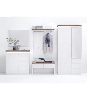 Szafa garderobiana ROMINA biała z dębowym blatem