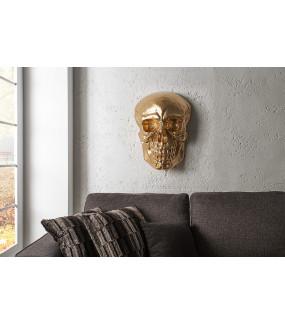 Rzeźba ścienna Skull 40cm złota