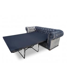 Sofa Chesterfield Modern szara z funkcją spania