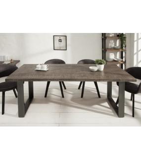 Industrialny stół z drewna mango w kolorze szarym