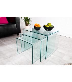 Stolik Fantome zestaw 3 szklany