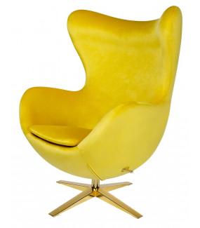 Fotel EGG VELVET GOLD żółty