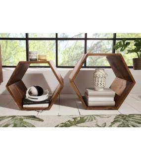 Zestaw pólek o geometrycznym kształcie do salonu w stylu boho lub skandynawskiego. Świetnie sprawdzą się w klasycznym pokoju.