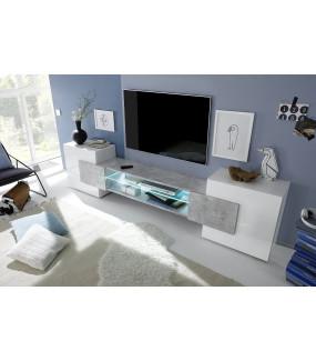 Stolik pod TV INCASTRO 260 cm biały z imitacją betonu