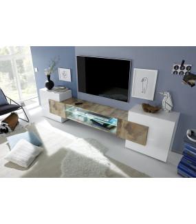 Stolik Pod TV INCASTRO 260 Cm biały z optyką dębu PIERO