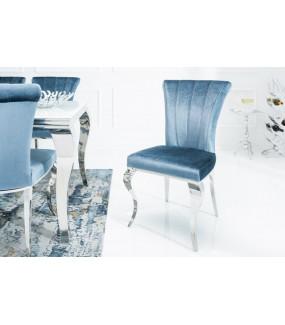 Krzesło Modern Barock III srebrno niebieskie