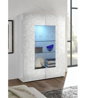 Witryna szklana PRISMA 120 cm biała