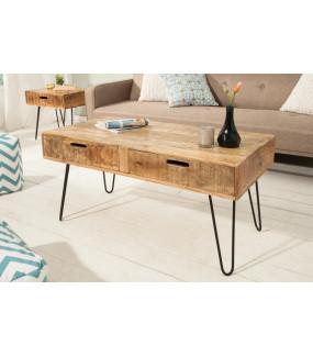 Praktyczny stolik kawowy o minimalistycznej formie posiadający dwie szuflady będzie idealny do pokoju dziennego w stylu loft