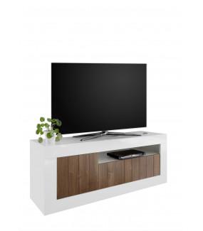Stolik pod TV URBINO 140 cm biały z dodatkiem ciemnego orzecha