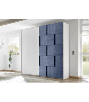 Szafa z drzwiami przesuwnymi 243 cm x 230 cm biało niebieska