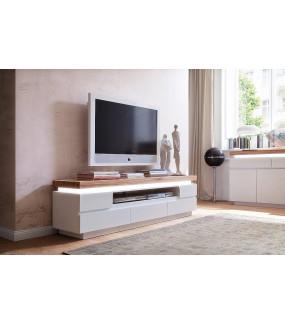 Stolik pod TV ROMINA 175 cm biały z dębowym blatem