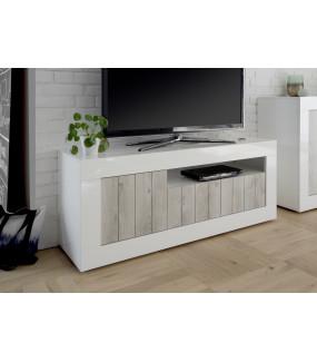 Stolik pod TV URBINO 138 cm biały z dodatkiem sosny bielonej