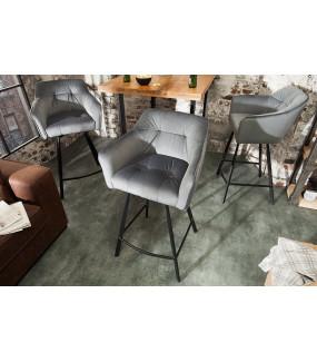Krzesło Barowe Loft srebrno szare
