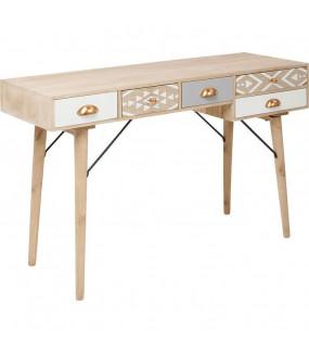 Biurko o ciekawym designie świetnie będzie się prezentował w eklektycznym salonie lub nowoczesnej jadalni.