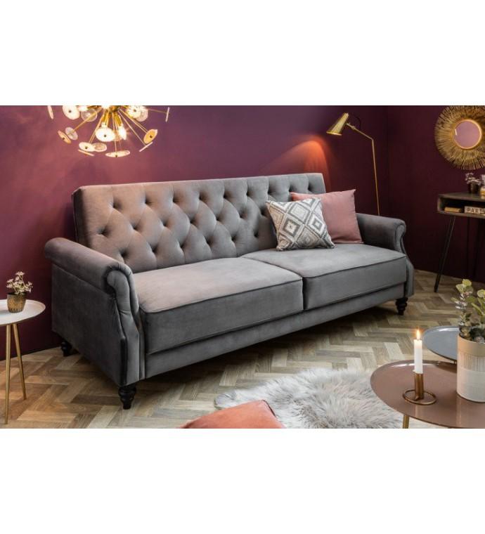 Sofa rozkładana Maison Belle II 220 cm szary aksamit