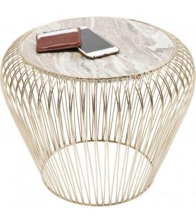 Stolik kawowy Beam Grey Marble Brass 43 cm