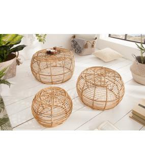 Stolik kawowy w zestawie 3 Bamboo Lounge Rattan