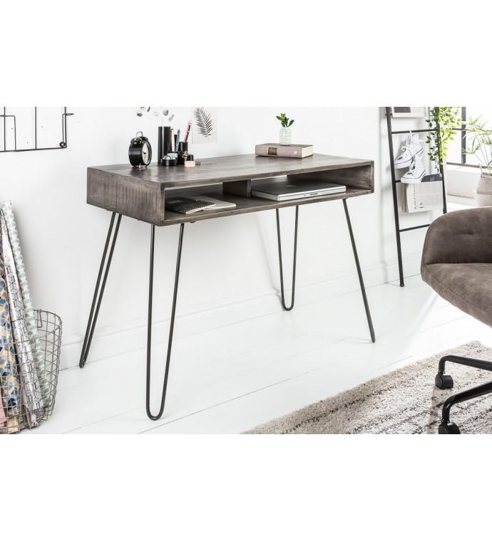Praktyczne biurko z drewna mango do pokoju w stylu loft.