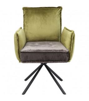Krzesło obrotowe Chelsea szaro zielone do jadalni