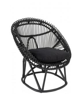 Krzesło rattanowe z poduszką Roco Czarne