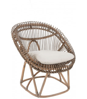 Krzesło Rattanowe Z Poduszką Roco brązowe