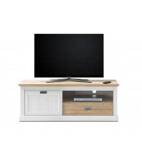 Stolik pod TV CLEVELAND 153 cm biały z dodatkiem koloru dębowego