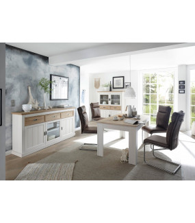 Stół CLEVELAND 160 cm Biały Z Dodatkiem Koloru Dębowego