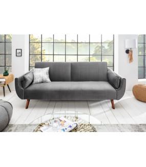 Sofa rozkładana Divani 215 cm srebrno szary aksamit