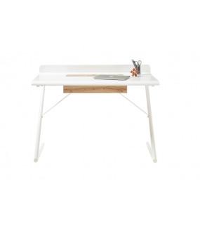 Biurko TULA 120 cm białe z dodatkiem koloru dębowego