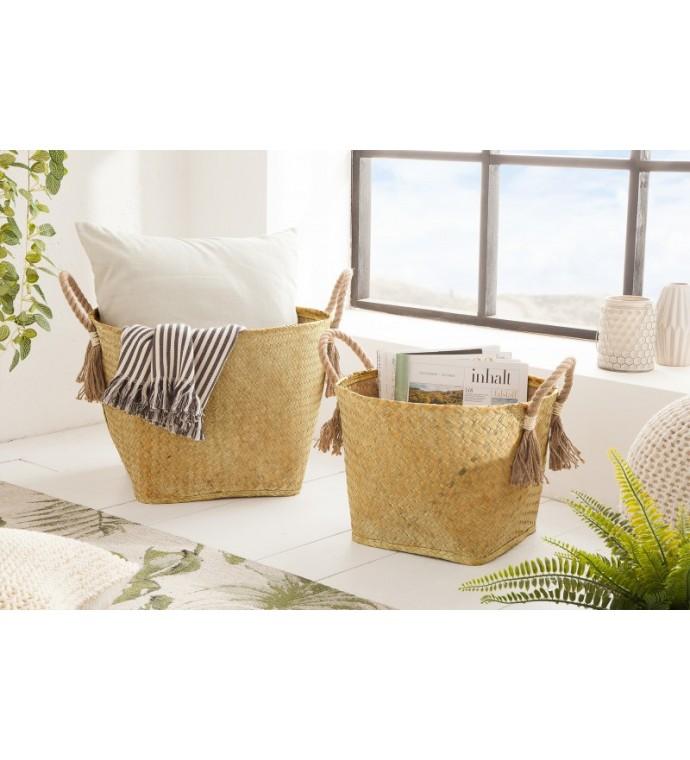 Zestaw 2 Koszy Bamboo Lounge Seegras naturalne