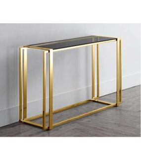 Konsola złota 120 cm ze szklanym blatem