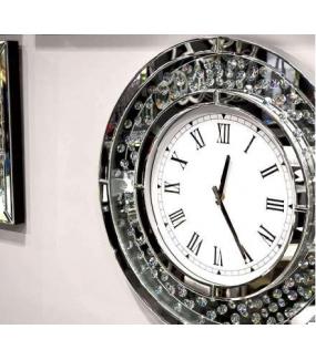 Zegar lustrzany z kryształkami