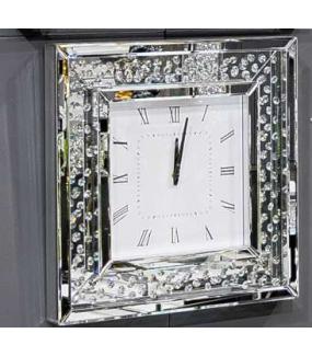 Zegar kwadrat lustrzany z kryształkami