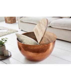 Stolik kawowy Orient Storage 60 cm miedziany z blatem Mango