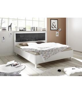 Łóżko XAOS 160 cm x 200 cm biało Antracytowe Z Ozdobnym Nadrukiem