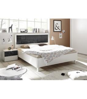 Łóżko XAOS 180 Cm X 200 Cm Biało Antracytowe Z Ozdobnym Nadrukiem