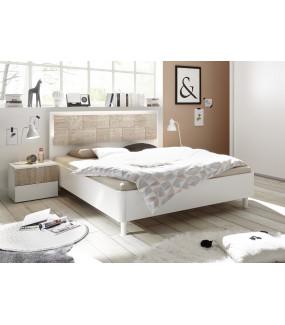 Łóżko XAOS 160 Cm X 200 Cm Białe Z Dodatkiem Dębu Sonoma Z Ozdobnym Nadrukiem