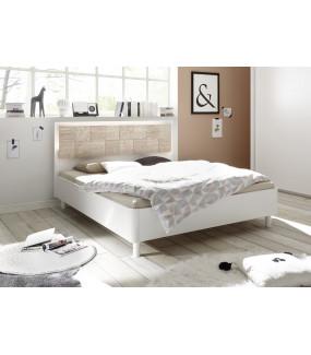 Łóżko XAOS 180 Cm X 200 Cm Białe Z Dodatkiem Dębu Sonoma Z Ozdobnym Nadrukiem