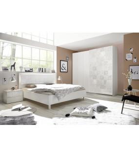 Łóżko XAOS 160 Cm X 200 Cm Białe Z Ozdobnym Nadrukiem