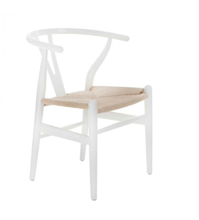 Krzesło Wicker Inspirowane Wishbone białe