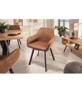 Krzesło Palermo z podłokietnikami jasnobrązowe