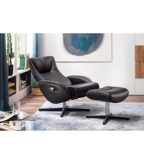 Fotel Z Podnóżkiem GALLWAY czarny