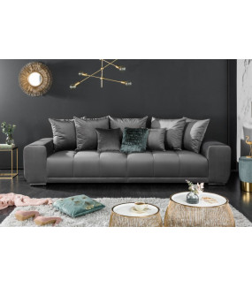 Sofa Elegancia 280 cm srebrnoszary aksamit do salonu