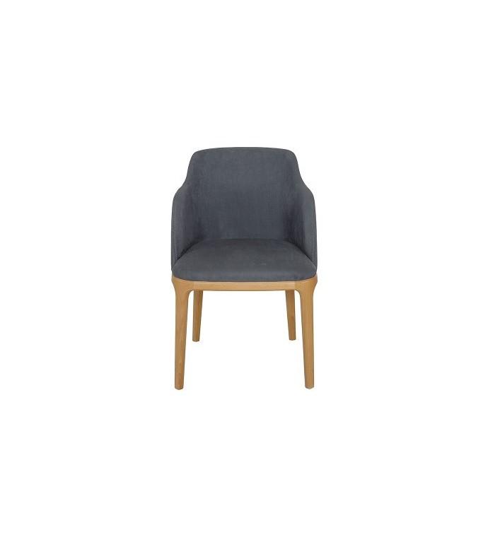 Krzesło bukowe z podłokietnikami tapicerowane szare
